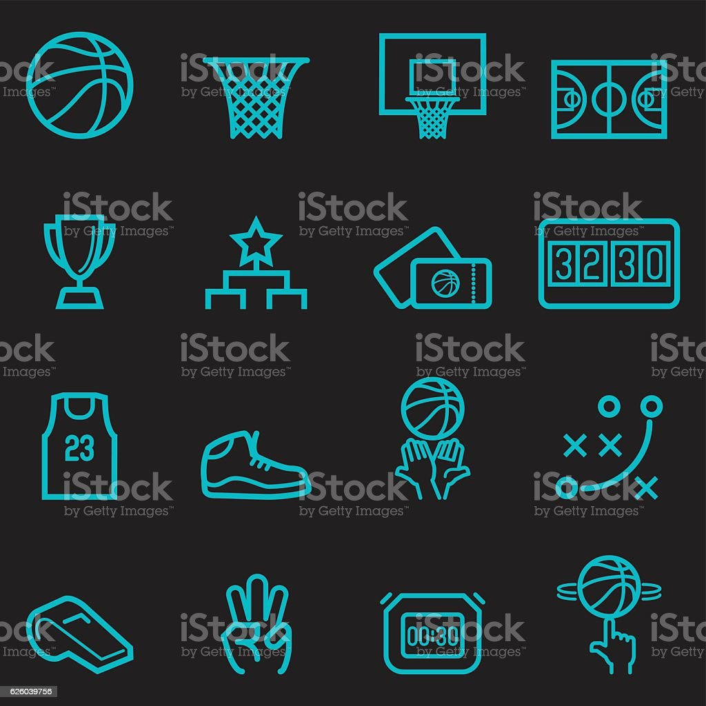 Basketball Icons [Glow in the Dark] vector art illustration