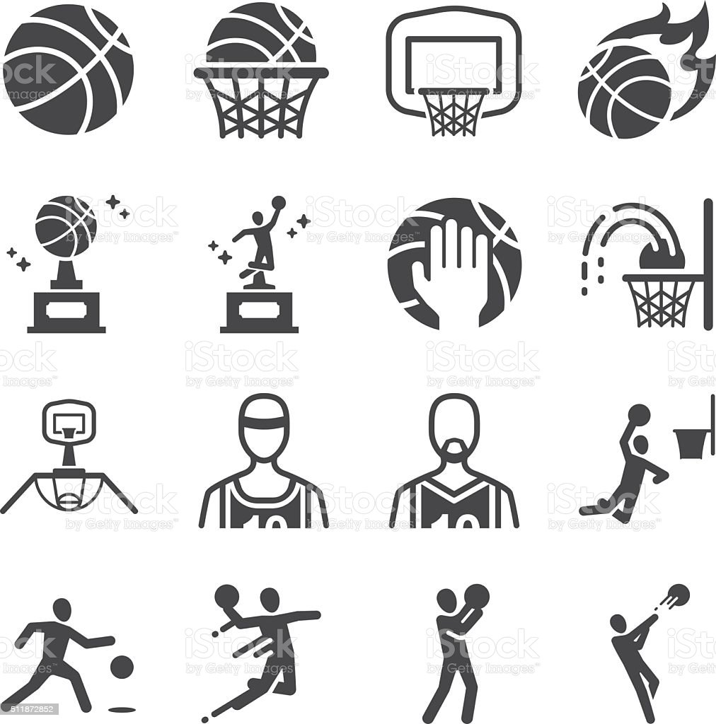 Basketball icons set vector art illustration
