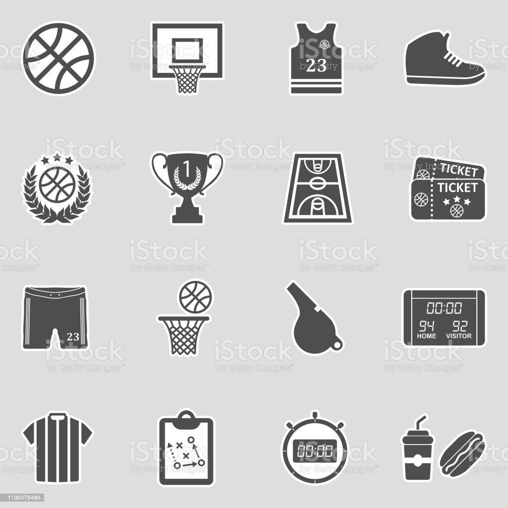 Basketball Icons. Sticker Design. Vector Illustration. vector art illustration