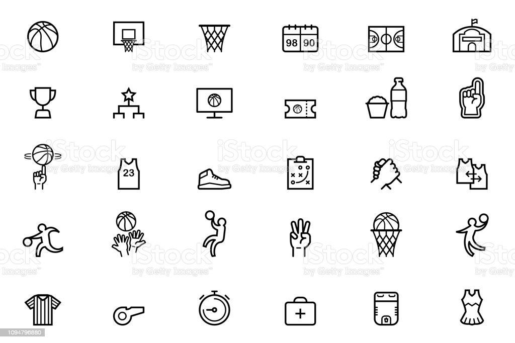 Iconos del baloncesto ilustración de iconos del baloncesto y más vectores libres de derechos de animadora libre de derechos