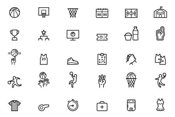 stockillustraties, clipart, cartoons en iconen met basketbal pictogrammen - atleet