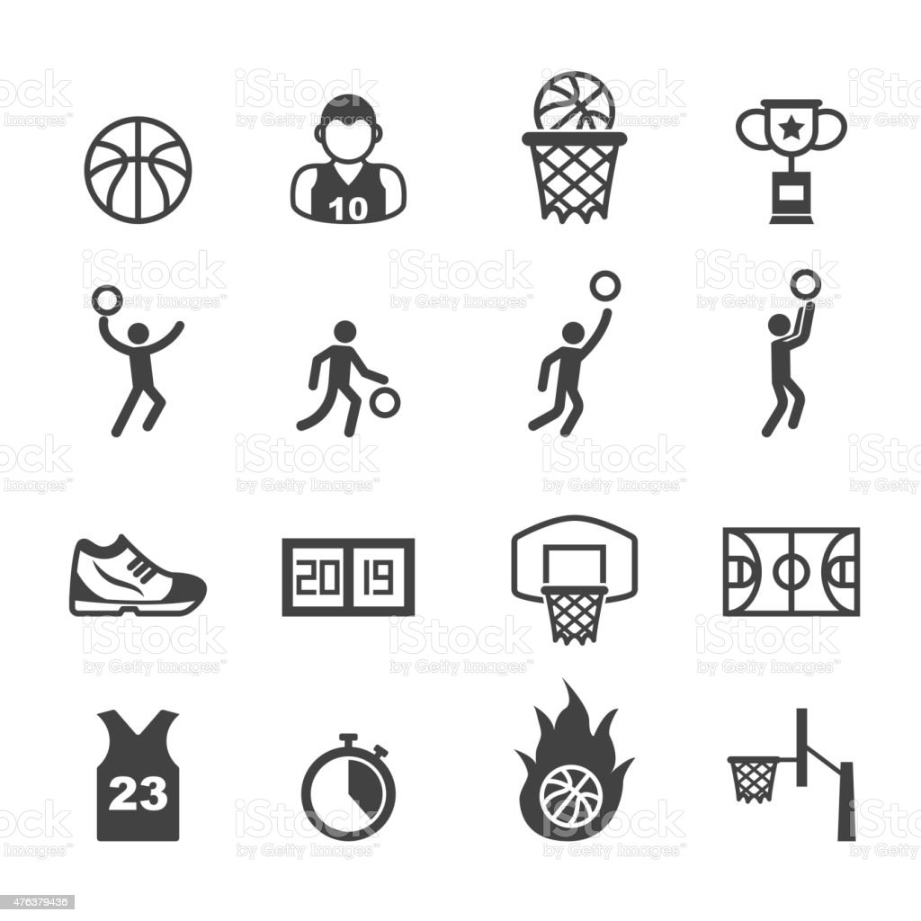 basketball icons vector art illustration