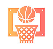 Basketball influencer design with gradient painted by path of the icon. Paper cut style graphic can also be used as simple vector template for silhouette illustrations.