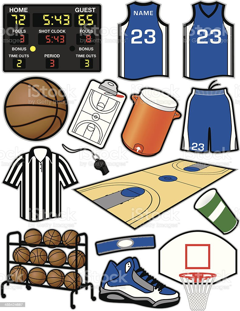 Basketball Items royalty-free basketball items stock vector art & more images of back board