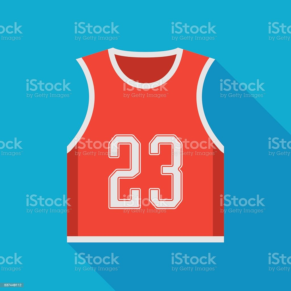 basketball jersey icon with long shadow vector art illustration