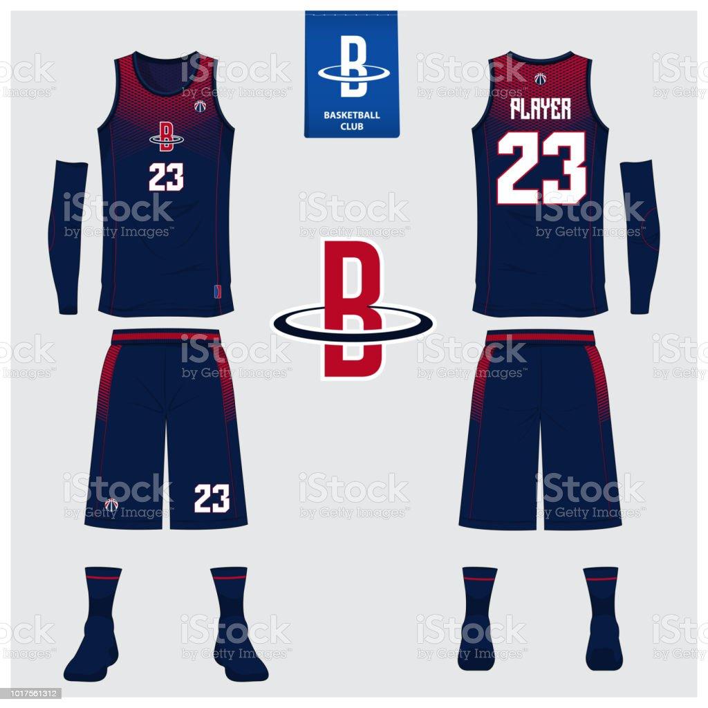 Basketball jersey or sport uniform, shorts, socks template for...