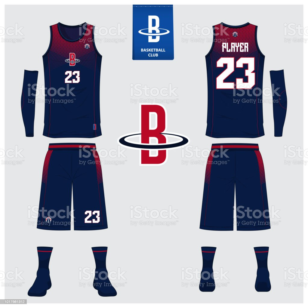 Basketball jersey or sport uniform, shorts, socks template for basketball club. Front and back view sport t-shirt design. Tank top t-shirt mock up with basketball flat logo design. vector art illustration