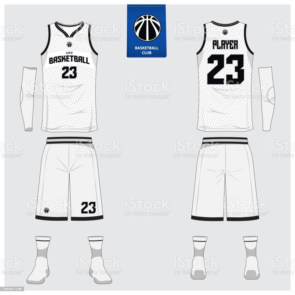 Basketball jersey or sport uniform template design for basketball club. Front and back view sport t-shirt design. Tank top t-shirt mock up with basketball flat icon design. vector art illustration