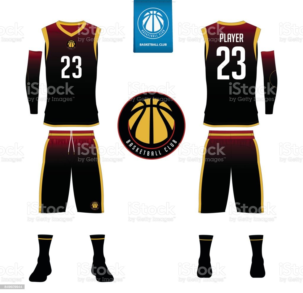 Basketball jersey, shorts, socks template for basketball club. Front and back view sport uniform. Tank top t-shirt mock up with basketball flat design on label. Vector vector art illustration