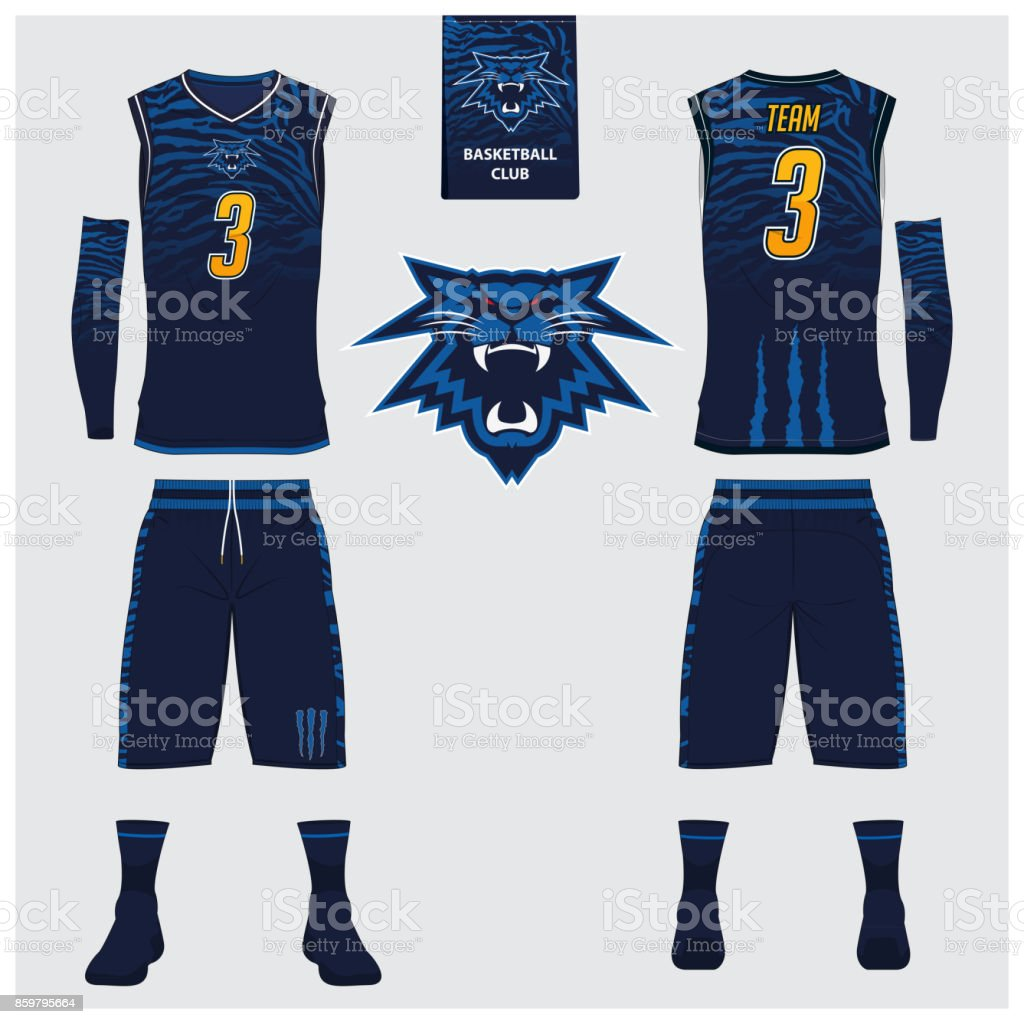 Basketball jersey, shorts, socks template for basketball club. Front and back view sport uniform. Tank top t-shirt mock up with basketball flat icon design on label. Vector vector art illustration