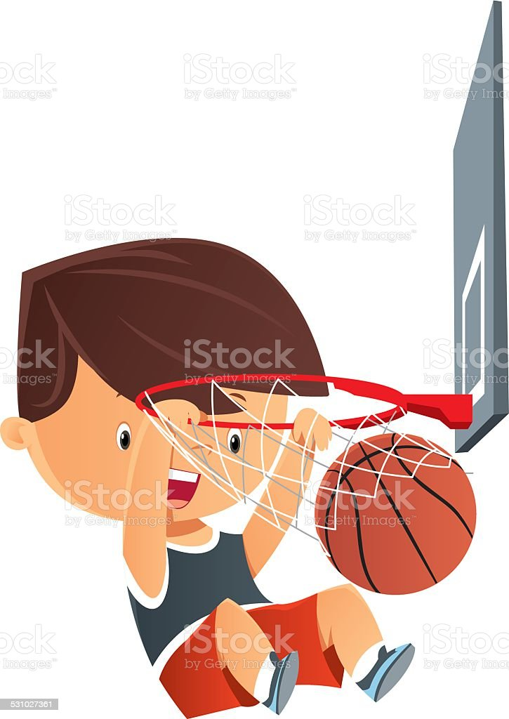 Basketball kid vector art illustration