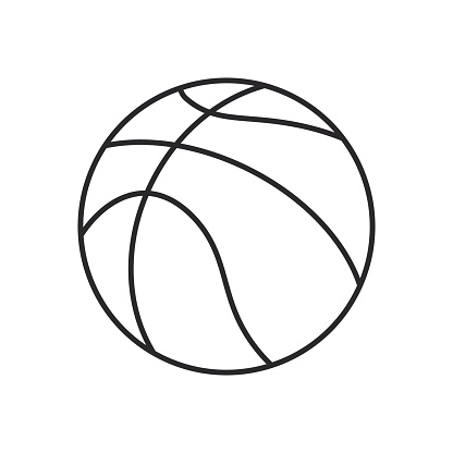 Basketball line art vector icon for apps and websites.