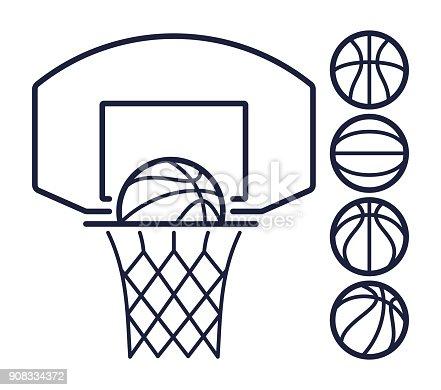 Basketball hoop and balls line art symbols.