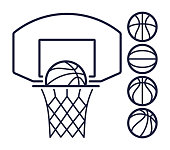 Basketball hoop and balls line art symbols.