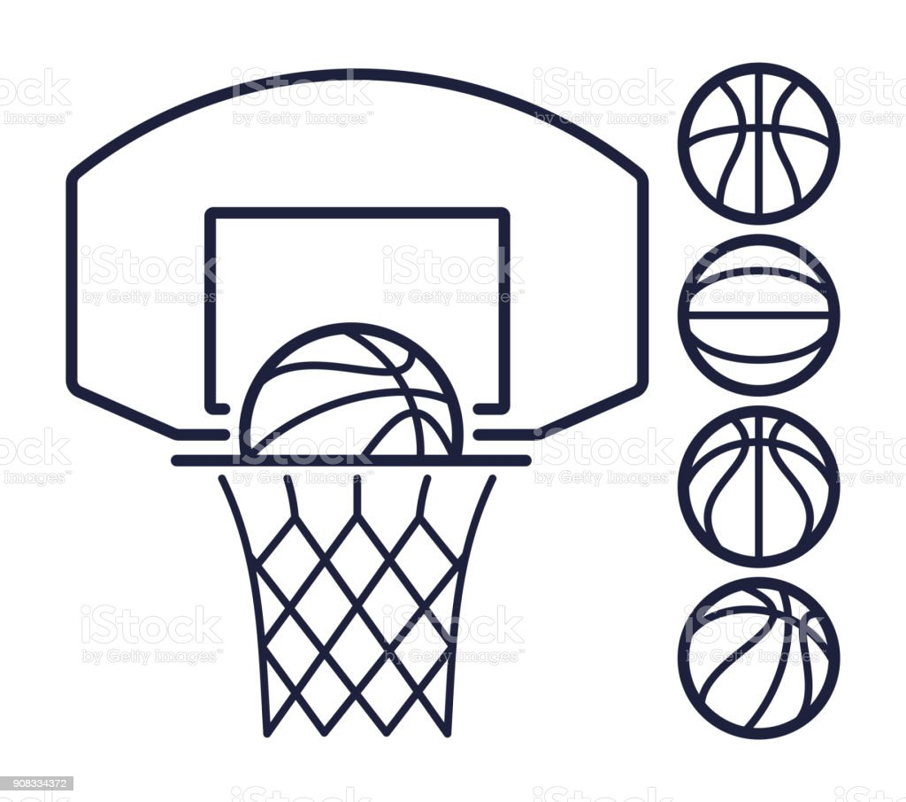 Basketball Line Symbols vector art illustration