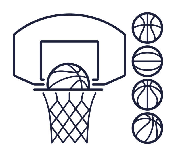 Basketball Line Symbols Basketball hoop and balls line art symbols. basketball stock illustrations