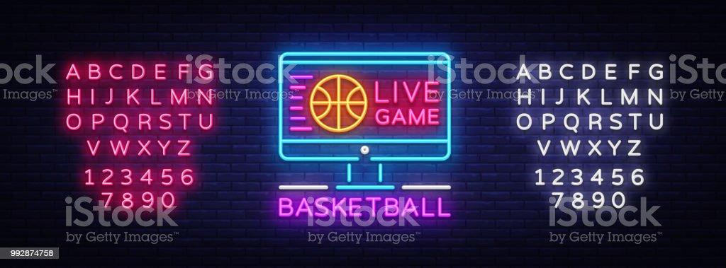 Basketball Live neon sign vector. Basketball Online Design template neon sign, light banner, neon signboard, modern trend design, bright advertising, light inscription. Vector. Editing text neon sign