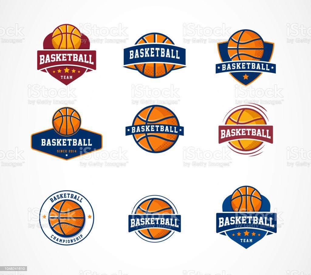 Baloncesto insignia, emblema, colecciones de iconos, vector plantillas ilustración de baloncesto insignia emblema colecciones de iconos vector plantillas y más vectores libres de derechos de actividades recreativas libre de derechos