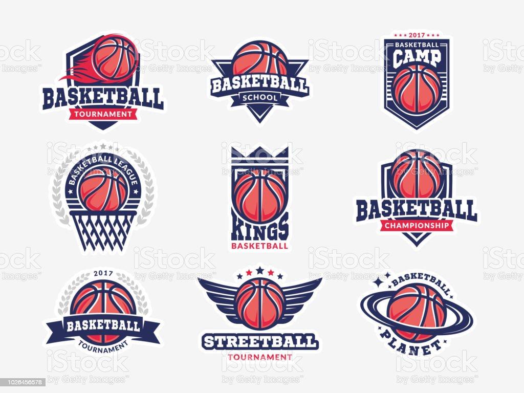 Logotipo de baloncesto, emblema establece colecciones, diseños de plantillas sobre un fondo claro ilustración de logotipo de baloncesto emblema establece colecciones diseños de plantillas sobre un fondo claro y más vectores libres de derechos de ala de animal libre de derechos