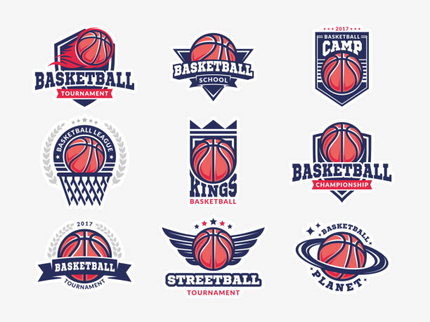 Basketball logo, emblem set collections, designs templates on a light background Basketball logo, emblem set collections, designs templates on a light background basketball stock illustrations