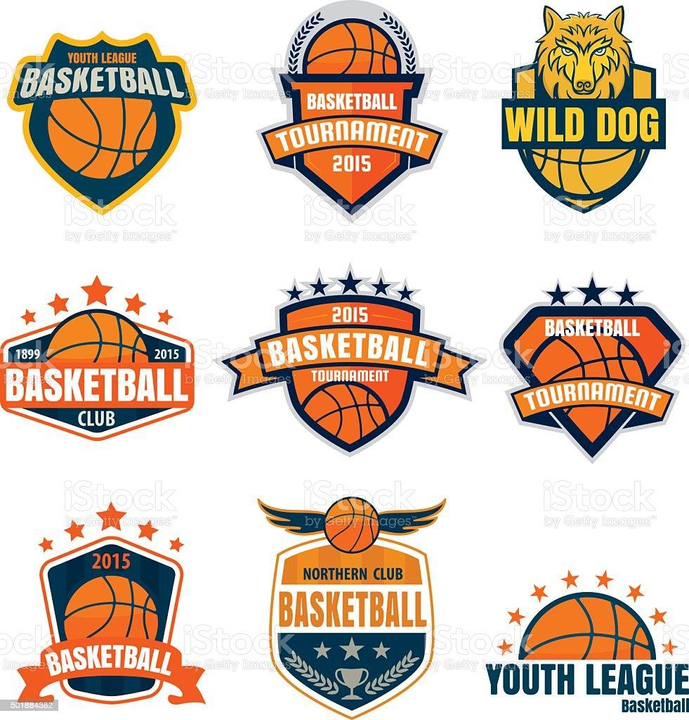Basketball logotype collection ,sport badge set, vector illustra vector art illustration