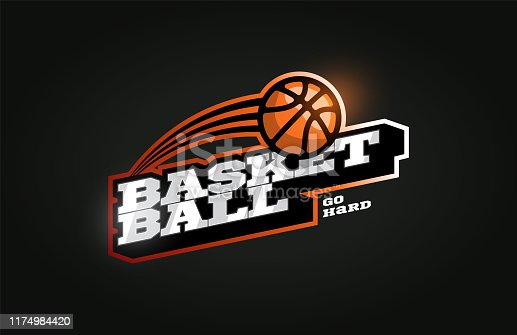 Basketball mascot Modern professional sport Typography in retro style. Vector design emblem, badge and sporty template logo design.