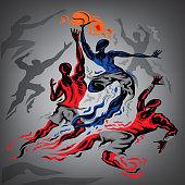 Abstract Basketball Match Vector Art