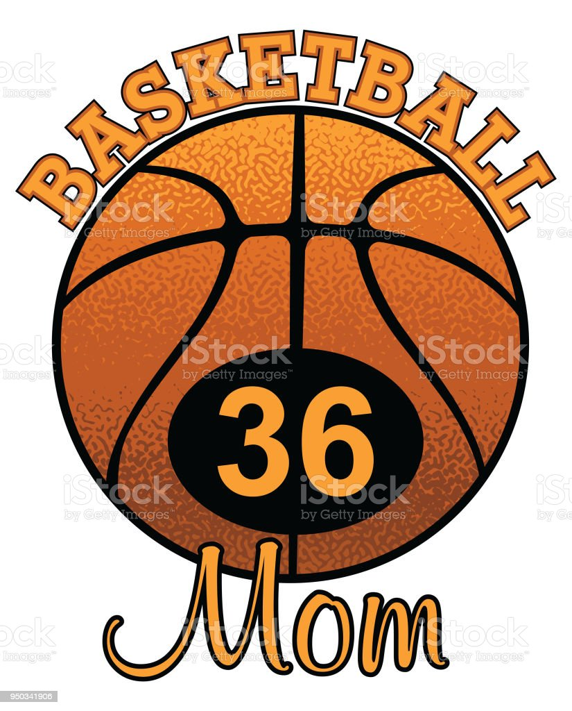 basketball mom with number stock vector art more images of athlete