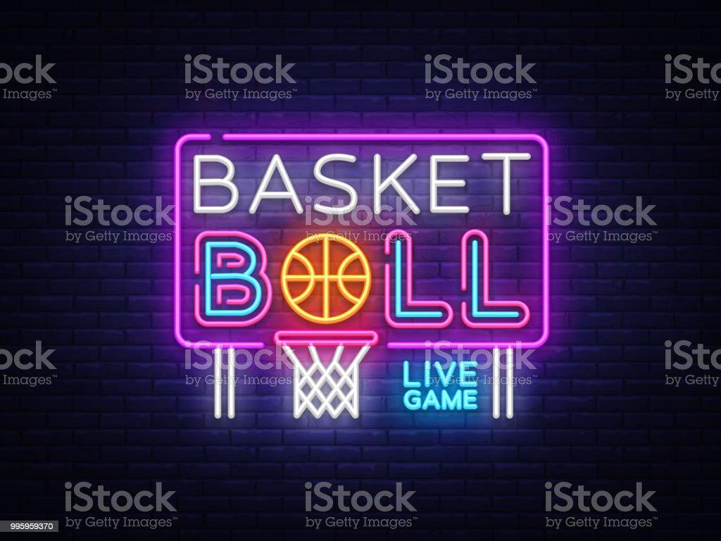 Basketball Neon Sign Vector Basketball Design Template Neon Sign