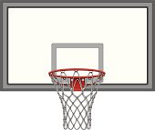 Illustration of a complex basketball net including the basketball backboard.