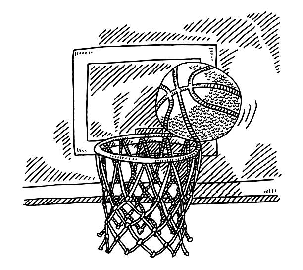 Basketball On Basket Hoop Close To Score Drawing Hand-drawn vector drawing of a Basketball On The Hoop Of A Basket Close To Score. Black-and-White sketch on a transparent background (.eps-file). Included files are EPS (v10) and Hi-Res JPG. sport stock illustrations