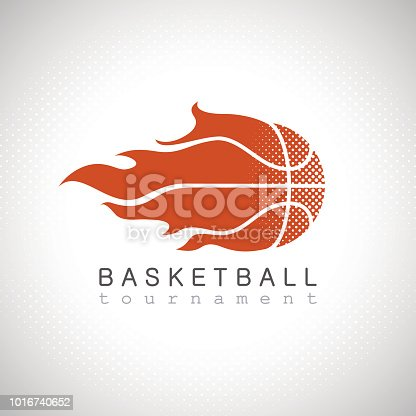 Basketball on fire tournament logo tribal style
