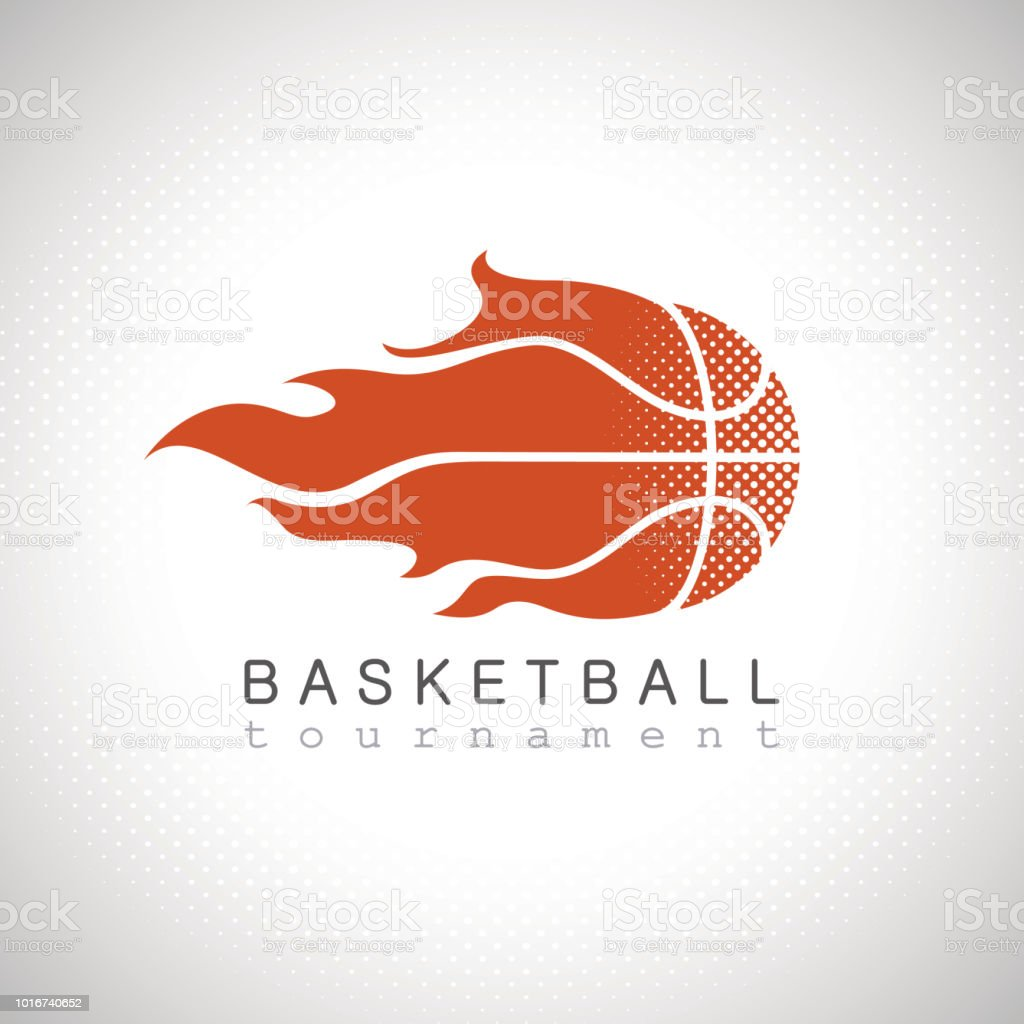 Basketball on fire tournament logo vector art illustration