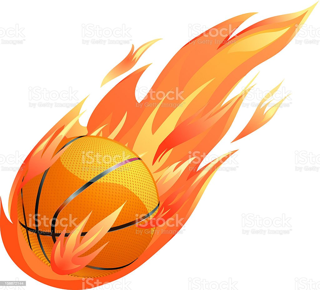 Basketball on Fire Vector royalty-free stock vector art