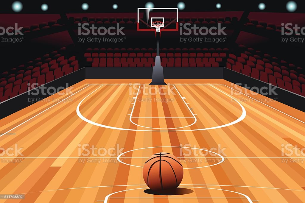 Basketball on Floor vector art illustration