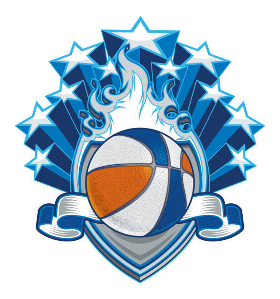 Basketball on Shield of Fire with Stars