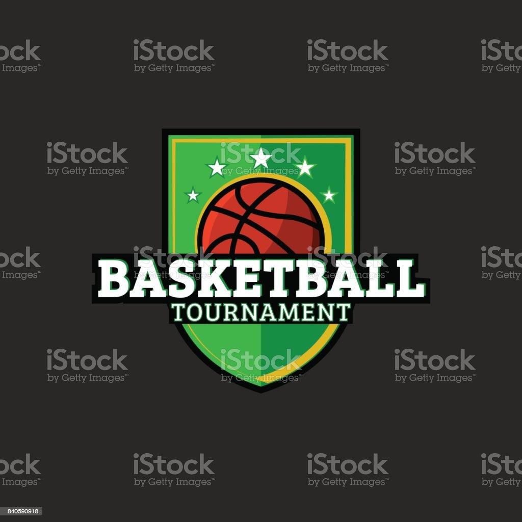 Basketball or streetball emblem. Shield with basketball ball icon. Basket sport t-shirt print design element. Vector Illustration. vector art illustration