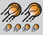 basketball orange and black Logo / Icon sports ball in motion with motion blur and lines