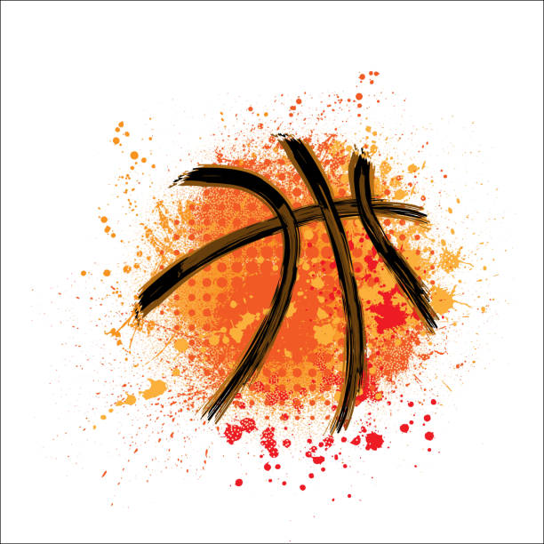 Basketball orange grunge background Orange grunge and dots basketball with ink blots and splashes basketball stock illustrations