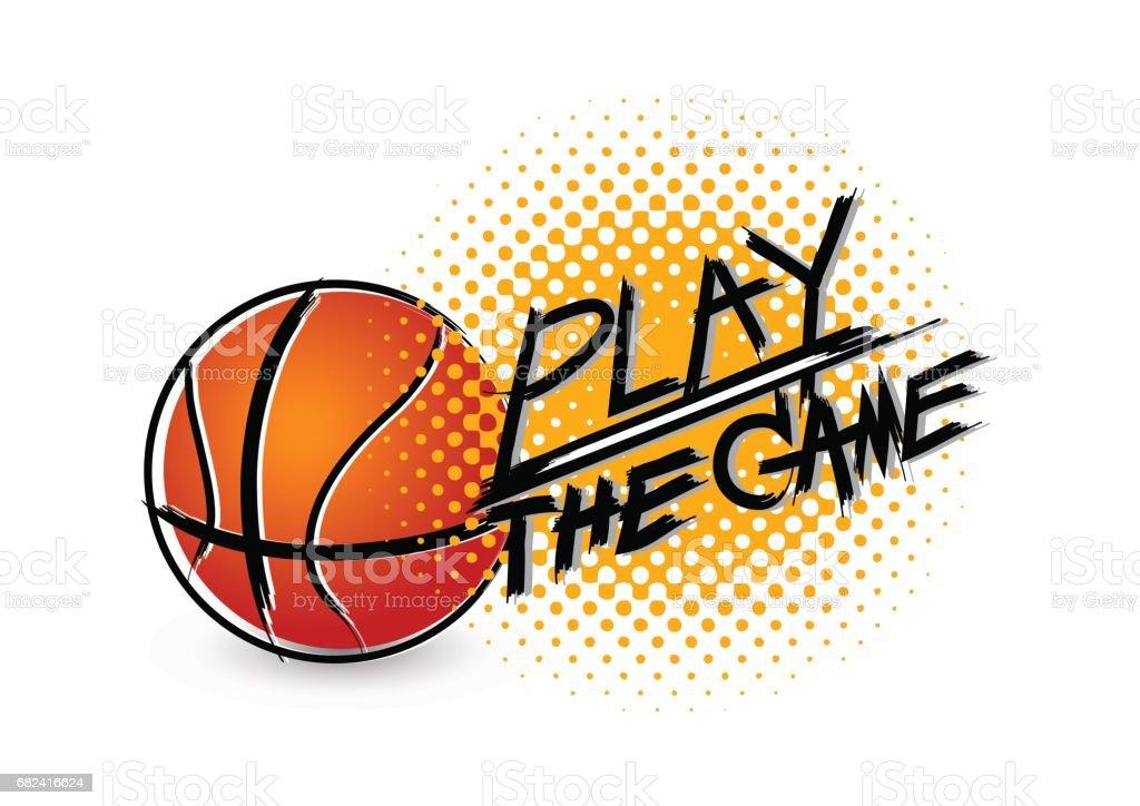 Yazim Hatasi Grunge Ile Basketbol Boyama Stok Vektor Sanati