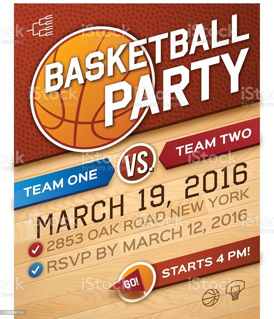 バスケットボールのパーティの招待状 ベクターアートイラスト