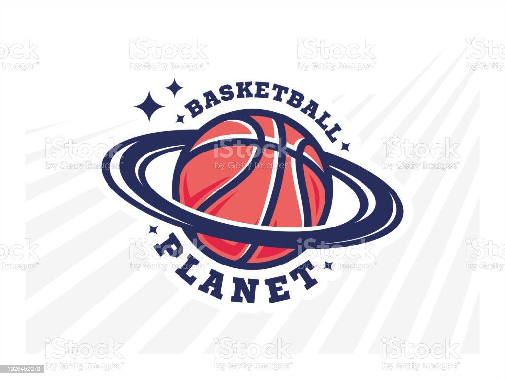 Basketball planet logo, emblem, designs on a light background vector art illustration