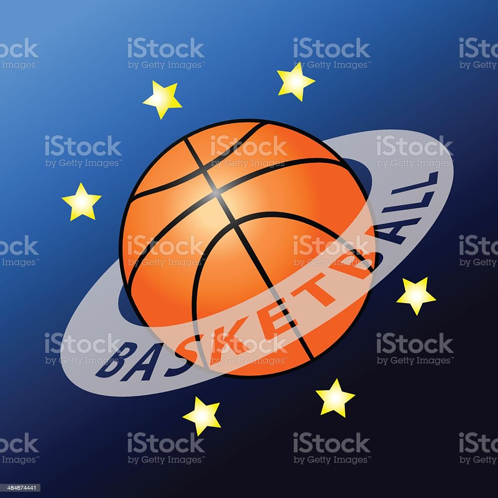 Basketball planet vector art illustration