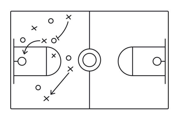 Basketball Play Diagram Basketball diagram illustration play calling. basketball stock illustrations