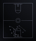 Basketball diagram illustration play calling.