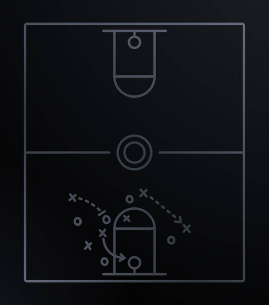 Basketball Play Diagram vector art illustration