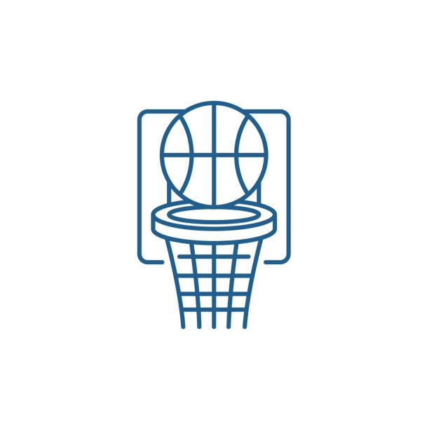 basketballspiellinie icon-konzept. basketball spielen flaches vektorsymbol, zeichen, umrissbild. - hoftheater stock-grafiken, -clipart, -cartoons und -symbole