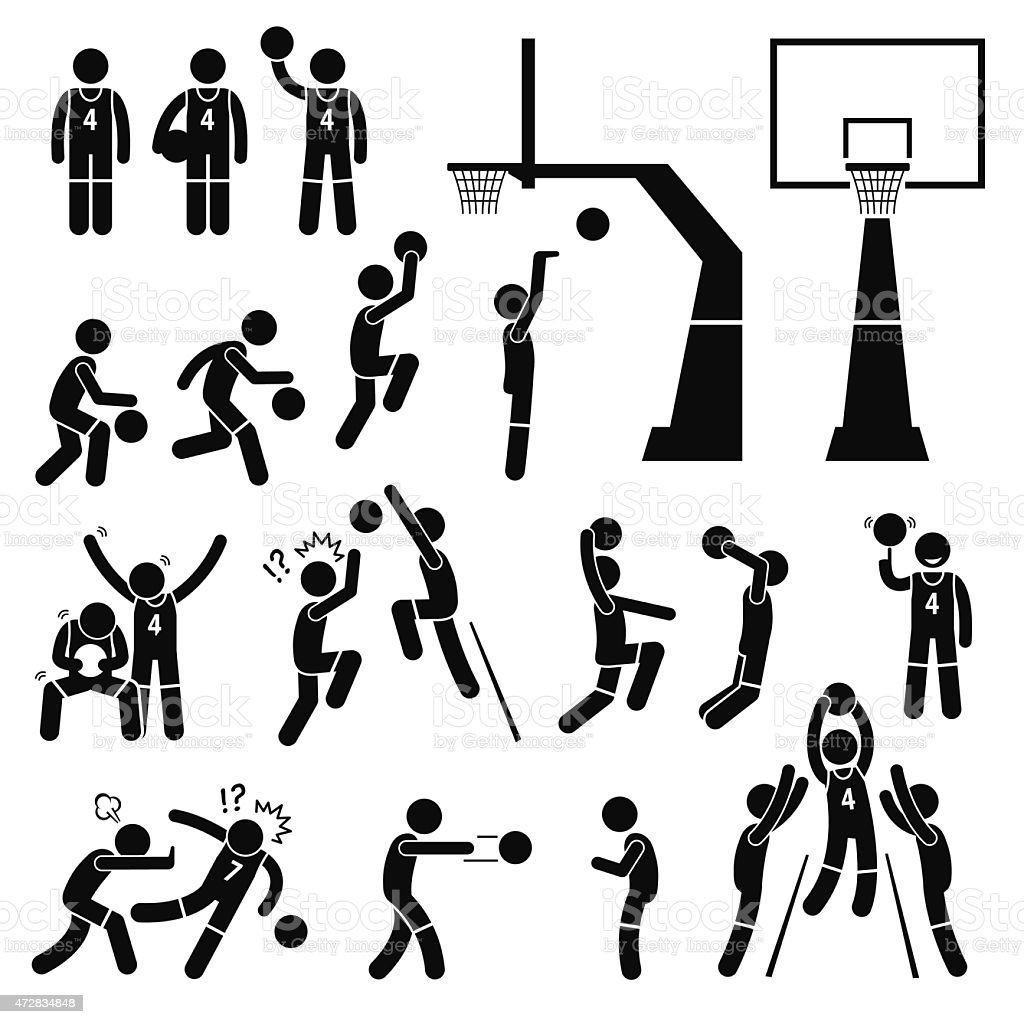 Basketball Player Action Poses Stick Figure Pictogram Icons vector art illustration