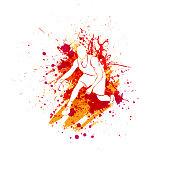 White basketball player silhouette isolated on orange ink blots splash