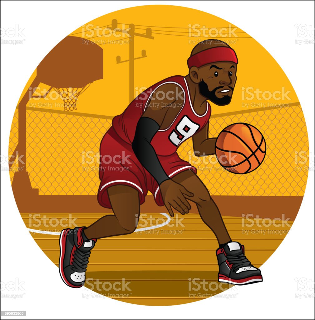 basketball player dribbling the ball vector art illustration